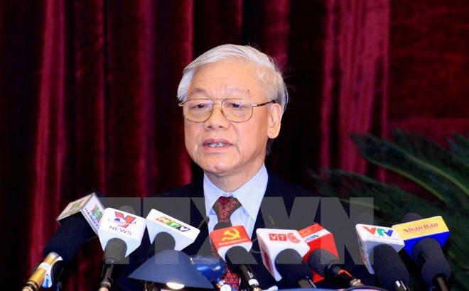 Tổng Bí thư phát biểu tại lễ ra mắt BCH Trung ương Đảng khóa XII